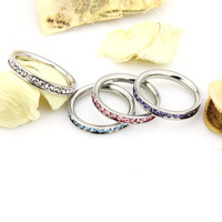 #CR0189 Wholesale Feminine 316L Stainless Steel .1CT  Fashion Channel-Set Eternity Ring 2013