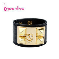 Punk Rock Bangles Multicolor PU Leather Bracelet Fashion New Coming Exaggerate Famous Brand Jewelry