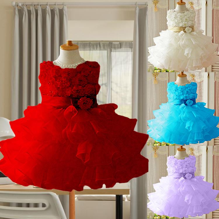 2015 New Girls Toddler 3D Flower Tutu Layered Princess Party Bow Kids Formal Dress,girl princess dress,girl flower dress LF058(China (Mainland))