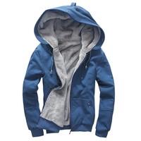 Fashion Autumn/Winter Plus Velvet Hoodies Cardigan Jackets Men's Sport Sweatshirt Coats Zipper Outwear B2 17015