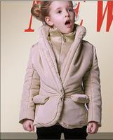 luxury coat girls winter warm padded coat  kids outwear children clothing 2-12yrs