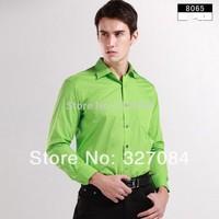 2015 fashion designer mens dress shirts long sleeve diamond cufflinks shirt Green high quality plus size 4xl free shipping 8065