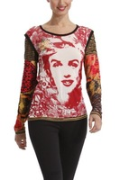 THE LAST 5 PCS 2013 autumn winter women new long sleeve print embroider desigual top tee 37T2L17 XS M XL FREE SHIPPING