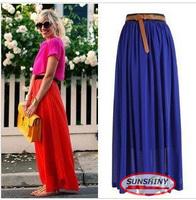 SUNSHINY 2014 Fashion Bohemian Princess Pleated Maxi Skirt 21 Colors Amazing Chiffon Long Skirt Women High Quality M L XL AS-8E