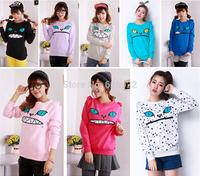 Hot Sale Women's Colored Zipper Smile Mouth Shoulder 3D Ear Cat Front Jumper Sweats Long Sleeve Fleece Sweatshirt Tops 7 Colors