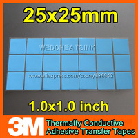 Free Shipping 100Pcs/Lot 3M 8810 High Performance 25*25mm Blue Thermal Conductive Adhesive Transfer Tape Pad