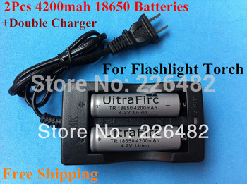 2Pcs/set  Battery 4200mAh 18650 Rechargeable Battery + 1*Double Charger+1*Plug For Flashlight Torch Lamp  Free Drop Shipping