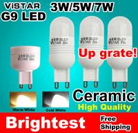 6PCS 3W 5W 7W G9 LED 220V 240V 110V LAMPS Ceramic light 2834 SMD Crystal led bulb Cold white Warm white wholesale free shipping