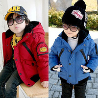 2013 Winter Boys clothing Baby boy windproof glasses Child cotton-padded jacket Cotton-padded jacket wadded jacket sbt7