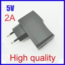 High quality EU Plug EU Version AC 100-240V /DC 5V 2A 2000mA USB Charger Adapter Power Supply Wall Home Office,Free Shipping(China (Mainland))