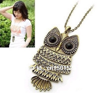 Cute  Vintage Metal  Owl Pendant Necklace( Bronze\Silver )Fashion Owl Sweater Necklace Wholesale Min.order is $10 (mix order)