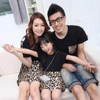 2014 summer children clothes brand fashion leopard chevron princess dress / t shirt Family ,for girl / boy / mom / dad