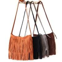 Free shipping 2013 fashion Hot sell Tassel women handbags Cartera con fleco Bolsa Transversal Em Camurca Com Franjas 6 cores