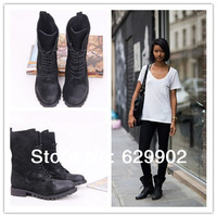 2013  combat boots wax grind arenaceous women cowhide genuine leather shoes women motorcycle boots rangers shoes