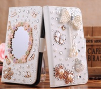 Free shipping 1pcs Lovely Bling  Rhinestone  with Inner Wallet Card Slot Leather Cover for Samsung Galaxy s4mini S4 Mini(i9190)