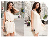2014 Hot Women's Stylish Shoulder Mark Irregular Chiffon Sleeveless Party Ivory White With Belt Dress