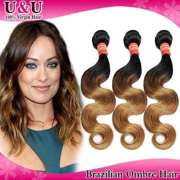Cheapest Queen Hair Products Brazilian Virgin Hair Body Wave Ombre Hair Extensions 3pcs100% human hair Grade 6A 1b&4&27