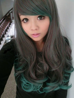 Free Shipping 2013  women japanese long harajuku lolita hair curly  gradient green wave curly hair anime cosplay wigs party wigs
