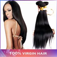 Peruvian Virgin Hair Straight 4pcs Bundles 5A Grade Peruvian Hair Color 1b, Modern Show Peruvian Virgin Straight Hair