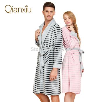 Qianxiu марка пижамы зима сгущает женщины халаты мужчин свободного покроя халат хлопок ...