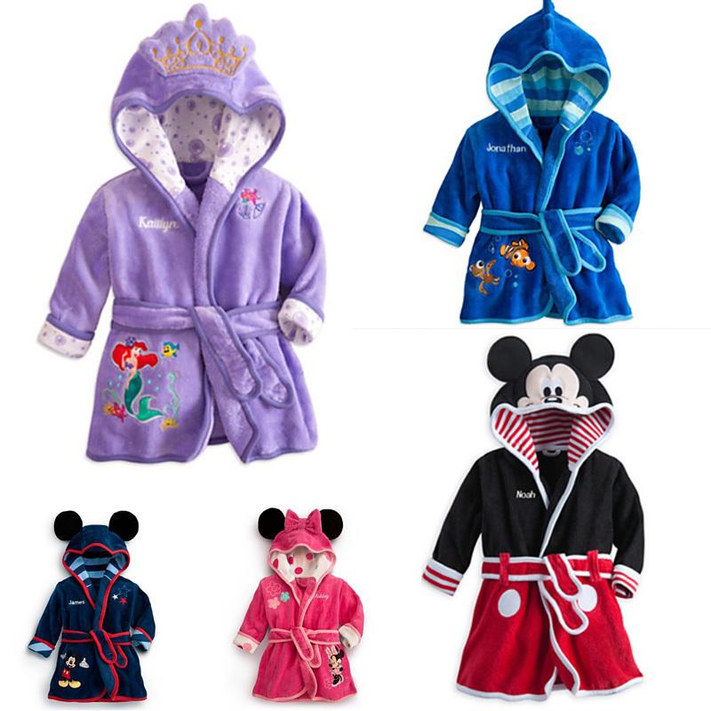 al dettaglio 2014 primavera autunno dei bambini accappatoio pigiama bambini micky Minnie Mouse accappatoi bambino homewear ragazzi ragazze cartoon 3 d pagliaccetto