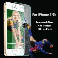 For iphone 5 Premium Tempered Glass Screen Protector Protective Film For iPhone 5 5S 5C With Retail Package Free Shipping