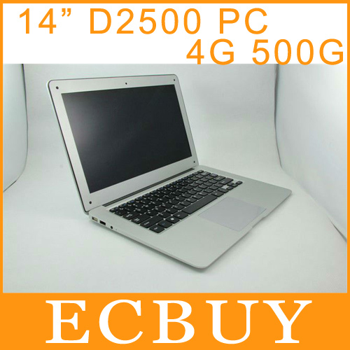 14 pollici ultrabook notebook giochi per computer laptop pc windows 7 intel atom d2500 1,86 GHz 4gb ram 500gb rom la spedizione dhl libero