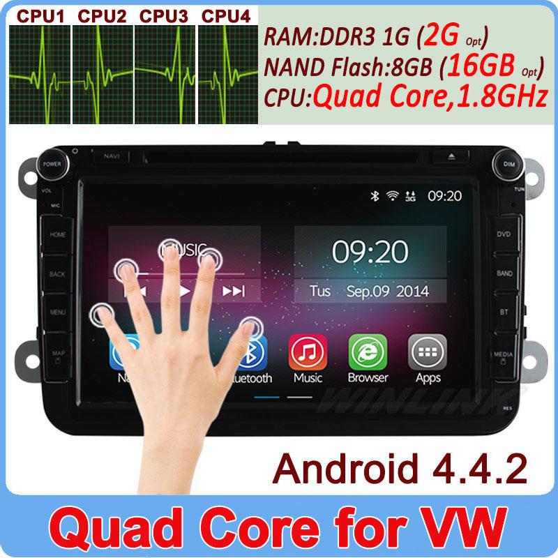 Quad Core Android 4.4.2 VW Car DVD GPS Navi 1.8G CPU RAM GOLF 6 new polo New Bora JETTA MK4 B6 PASSAT Tiguan SKODA OCTAVIA Fabia(China (Mainland))