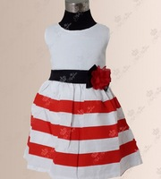 2014 girls striped dresses girl's princess dress girls sleeveless red and white striped dress free shipping