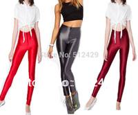 2013 Women High Waist Neon Color Leggings Button Zipper Solid Candy Color Pants AA Disco Spring Autumn