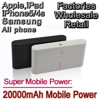 Southeast Asia Hot Sale Power bank 20000mAh High quality High capacity portable charger for iphone 5s/5/4s samsung Fast delivery