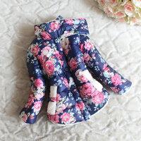 Free shipping 4 pcs/lot 2014 winter wadded jacket fleece thick female child flower jacket ,cotton-padded coat