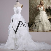 Vnaix IW004 In Stock New Arrival Sweetheart Pleated Ball Gown Cheap Wedding Dress 2014