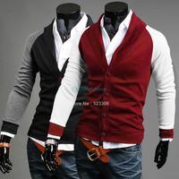 Best selling New Men Cardigan Men Fashion Slim Fit V Neck Jacket Coat 19328