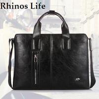 NEW 2014 Rhinos Life desigual  men's retro business bags,computer bag handbags,men's leather messenger bag,Khaki,black,brown