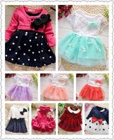 Retail new 2014  flower girls Polka Dot baby girls dresses for autumn -summer Long sleeved cotton dress cotton 6-24M