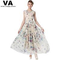 [VA]women summer maxi dresses plus size long casual dress woman butterfly chiffon print dresses xxl xxxl woman 2015 P00077