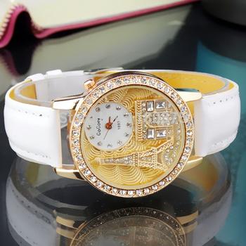 Женщины часы кварцевые наручные часы Gogoey бренд класса люкс эйфелева башня кожа часы леди свободного покроя мода золотые часы relogios feminino
