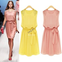 2014 Women's Summer Handmade Bead Shoulder long Bohemian Chiffon Dress Bow Belt Sleeveless Pleated Vest Dress SV001303 B26