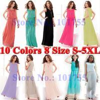 2014 Summer casual maxi party women fashion clothing plus size long section of Bohemian beach chiffon dresses 10 colors S-5XL