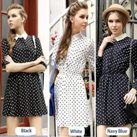S-L New 2014 Hot Sale High Street Elegant Women Dress Polka Dot Chiffon Spring Button Sleeve Dress B003 SV003040