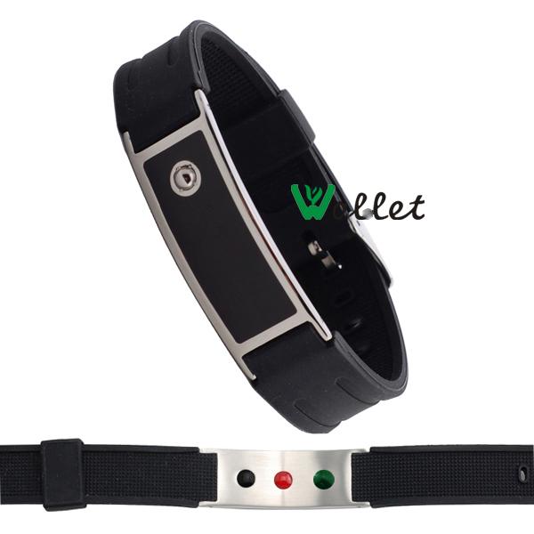 black enamel rubbers wristbands tourmaline germanium infrared negative ion energy custom stainles steel silicone bracelet men(China (Mainland))