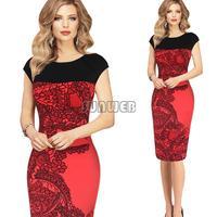 2014 New Sexy Bodycon Dress Elegant OL Business Dress Women Work Wear Summer Casual Dress Plus Size S-XL B2#