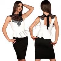 Summer Dress 2014 European Style Slim Women Work Dresses Knee Length Sleeveless Ruffle Bodycon Casual Pencil Dress#3 SV003884
