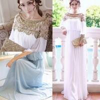 Womens Girls High Quality Beads Evening Dress Party Elegant Long dress Bride Bridesmaid Full Dress Gown B11 SV004810