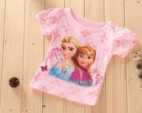 free shipping 2014 new frozen 100% cotton kids clothes set girls clothing pajamas set T shirt +Short Pants 2~6age b8 SV005023