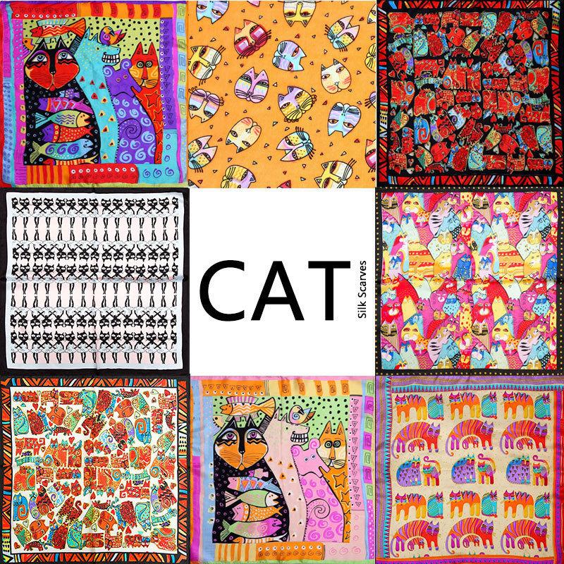 100% Silk Scarf Women Scarf Cat Scarf 2015 Foulard NeckerChief Animal Silk Bandana Small Square Silk Scarf Cat Office Lady Gift(China (Mainland))