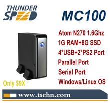 X86 Windows Mini PC Thin Client MC100 Intel Atom N270 1.6Ghz CPU /1GB RAM /8GB SSD /LPT Port /Serial Port /Windows Linux OS(China (Mainland))