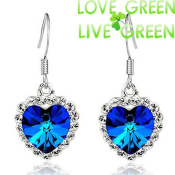 queen kate United kingdom london style fashion darkblue royalblue Austrian Crystal heart titanic drop Earrings  jewelry 84018