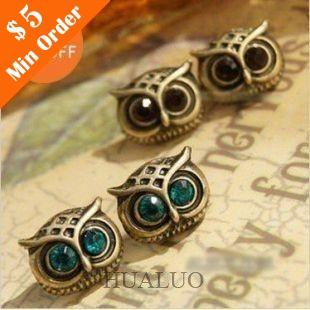 Fashion Alloy Owl Earrings Dangle Earrings Wholesale Cute animal earrings E43(China (Mainland))